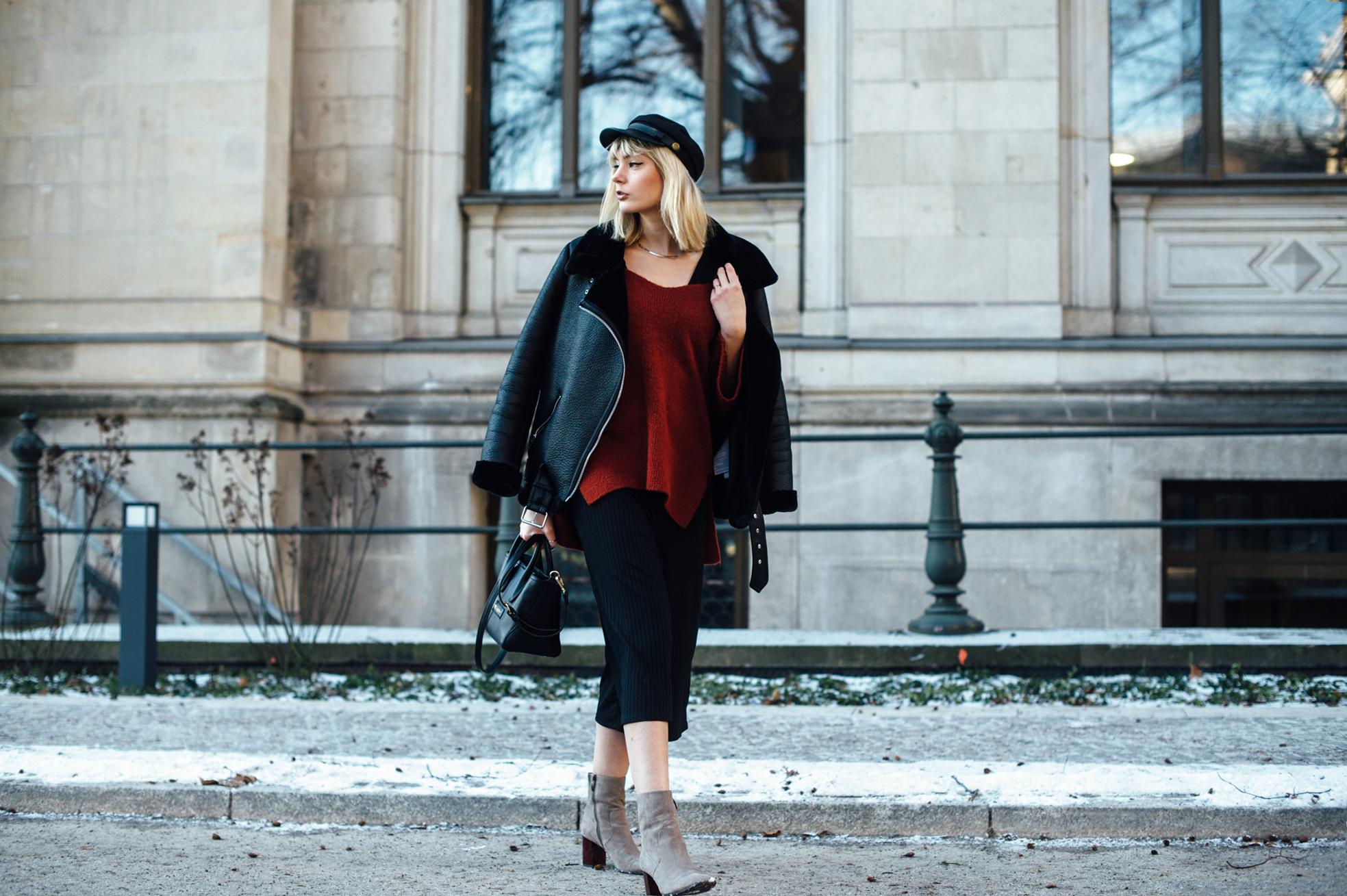 04-Kiamisu-Modeblog-Fashion Week Berlin_Shearling Jacke_Tamaris Stiefeletten_Schiebermütze-4